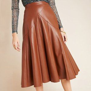 Anthropologie Mariska Faux Leather Midi Skirt